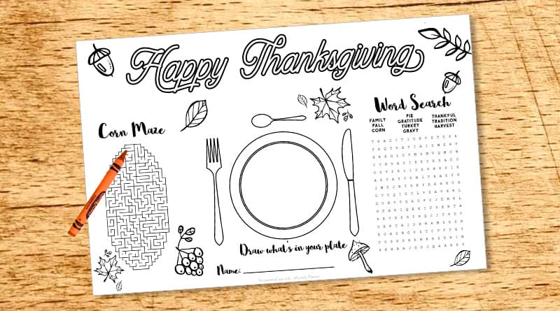 Free Printable Thanksgiving Kid Placemat - Activity Sheet - Lovely