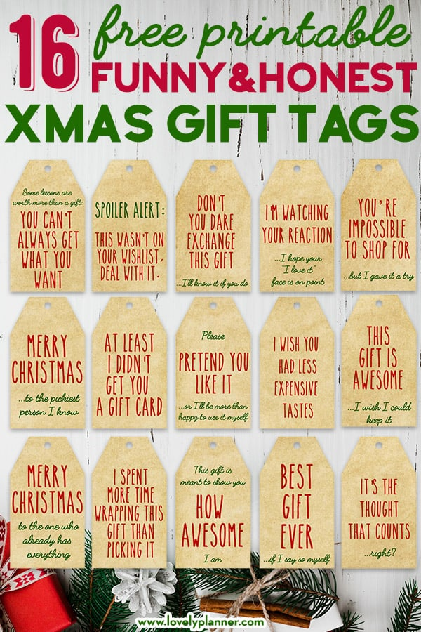 16 Free Printable Funny Honest Christmas Gift Tags - Lovely Planner