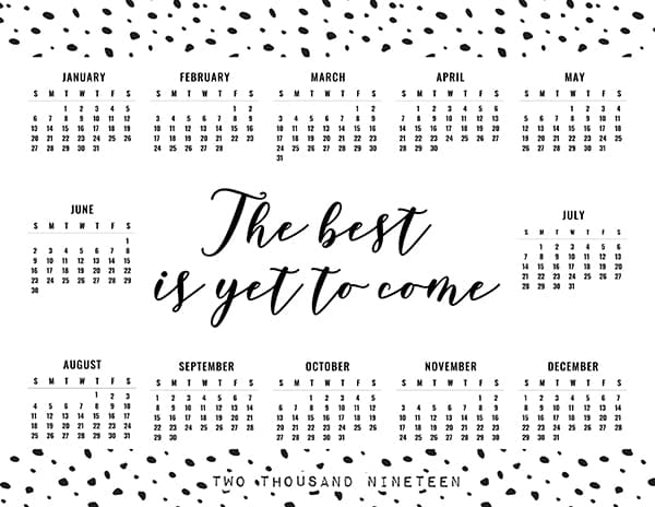Free Printable Calendar 2019 one page layout - 3 templates - Lovely