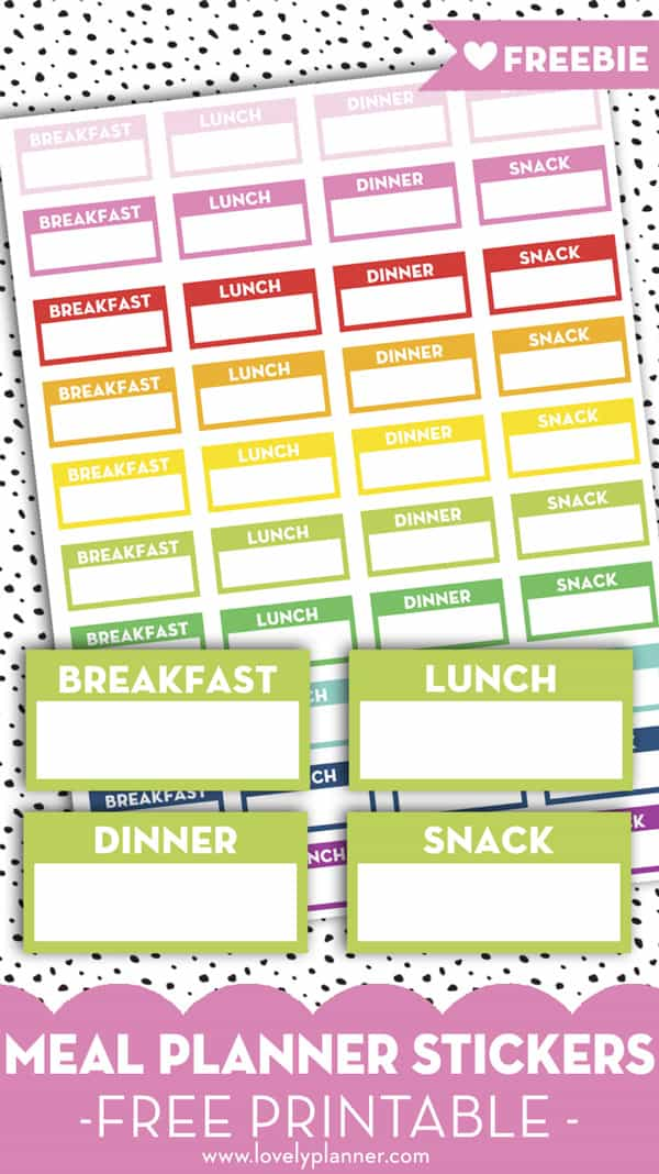 Free Printable Meal Planner Stickers Breakfast, Lunch, Dinner