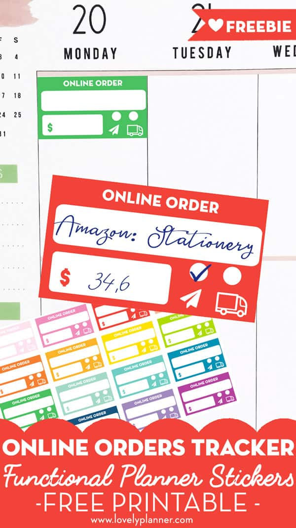 Free Printable Online Order Tracker Planner Stickers - Lovely Planner