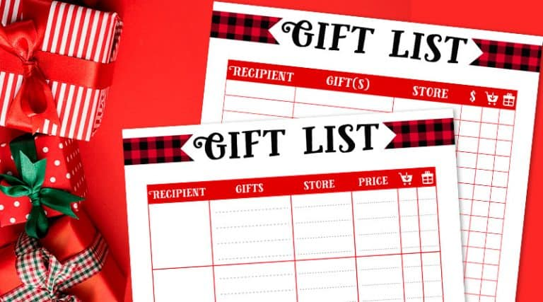 Free Printable Christmas Gift List 2 templates - Lovely Planner