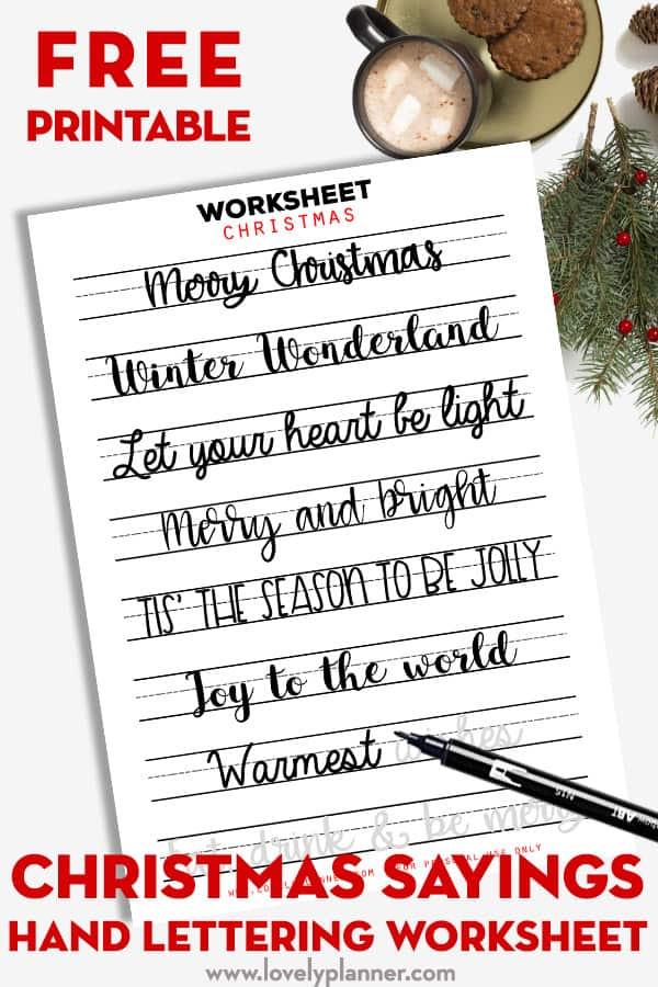 Christmas Sayings Lettering Worksheet Free Printable - Lovely Planner
