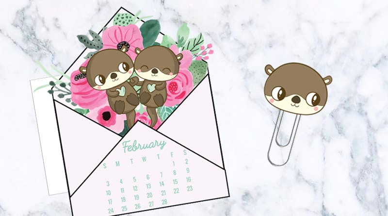 Free Printable Cute Floral Love Letter Calendar Divider  Paperclip