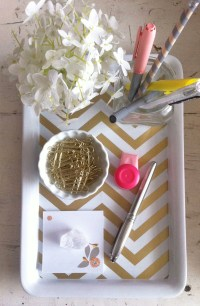 DIY Gold Chevron Desk Tray (Kate Spade office)   Lovely ...