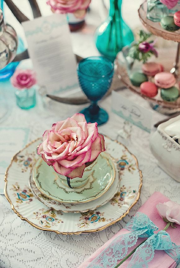 Pink & Turqoise ~ Decor and Detail Inspiration for a Tea Party Style Wedding... ()