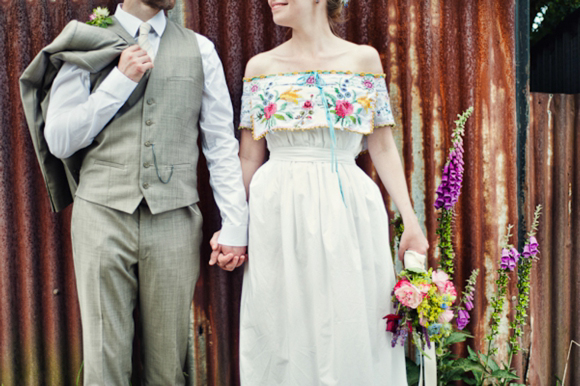 A wedding dress made from tableclothes, by Cardiff & South Wales Wedding Photographer, Aga Tomaszek