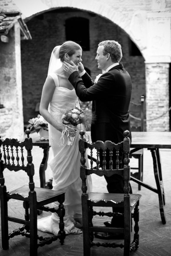 Black and White Wedding Photographs of a Tuscan Wedding and Vera Wang Wedding Dress...