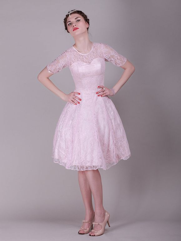 For Her ANd For Him Short Pink Lace bridesmaids dress