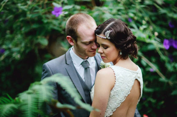 A Backless Wedding Dress and Flapper Style Headpiece for a 1920s Inspired Bride...