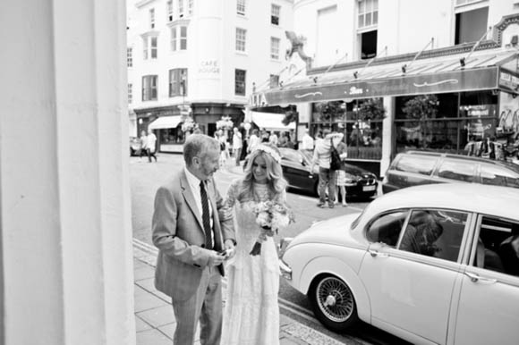 Edwardian wedding dress, 1960s mod inspired wedding, Brighton