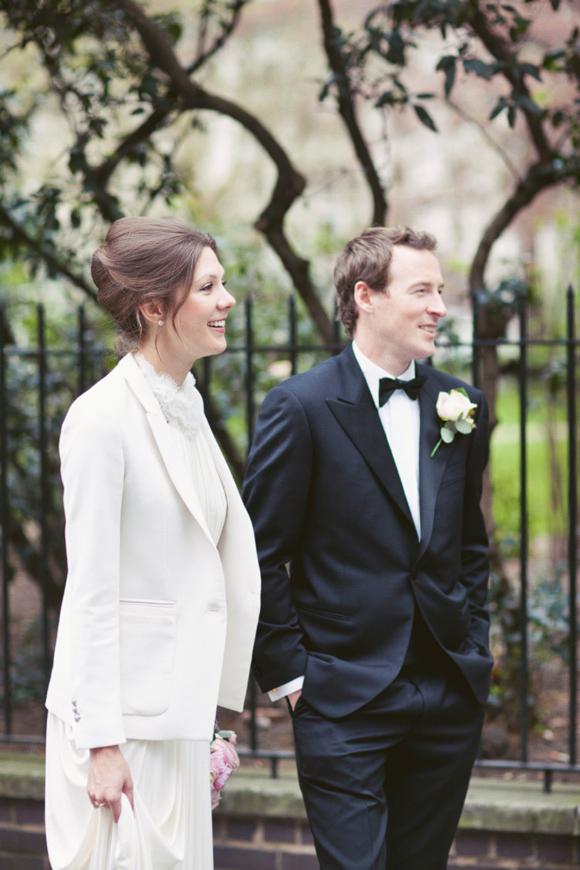 David Fielden wedding dress and The Kooples blazer