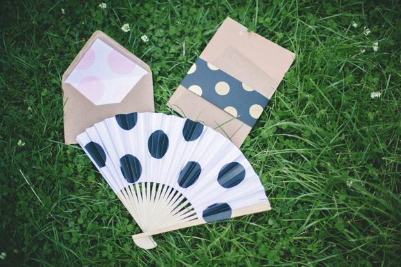 Polka dot fan, enveope liner and stationery