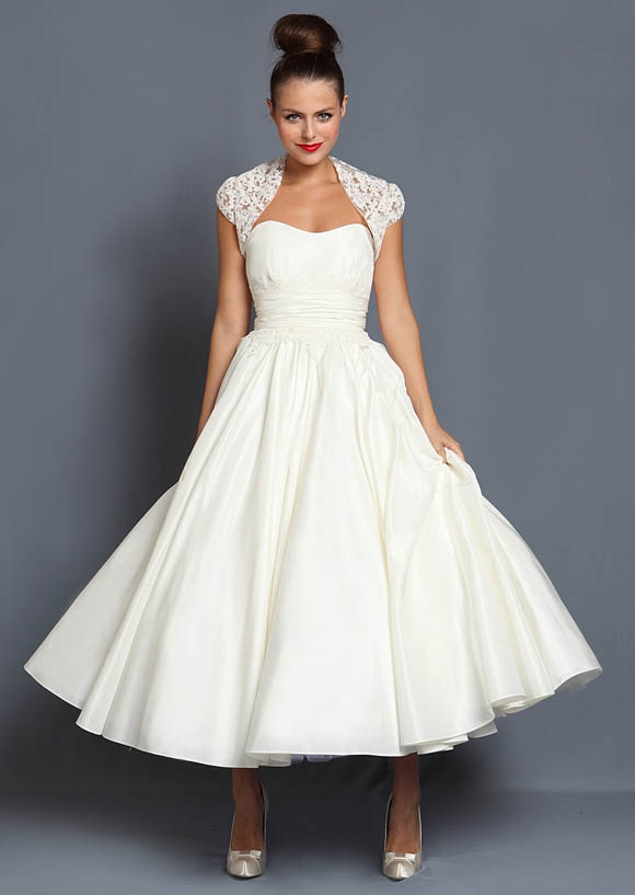 Short tea length and 1950 s inspired wedding dresses by for 50s inspired wedding dress