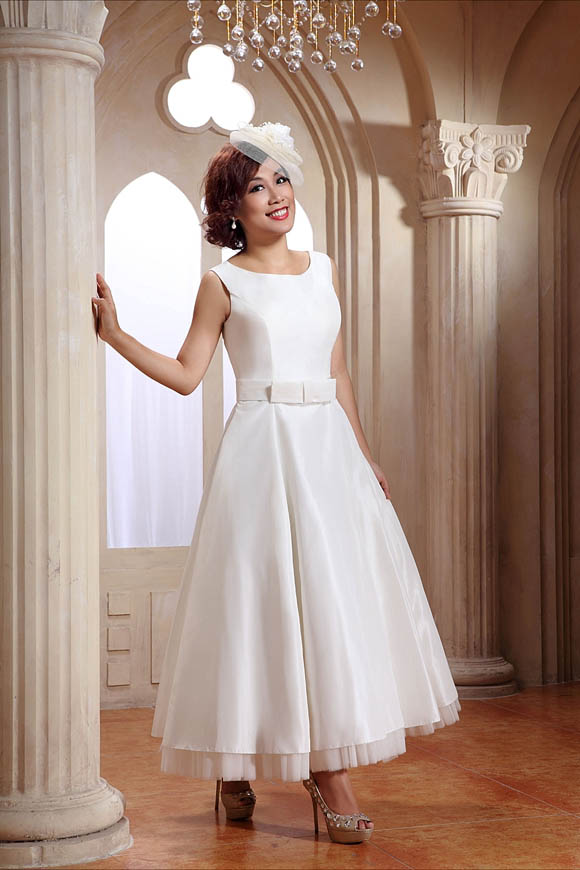 Short tea length and 1950 s inspired wedding dresses by for Wedding dresses for brides over 65