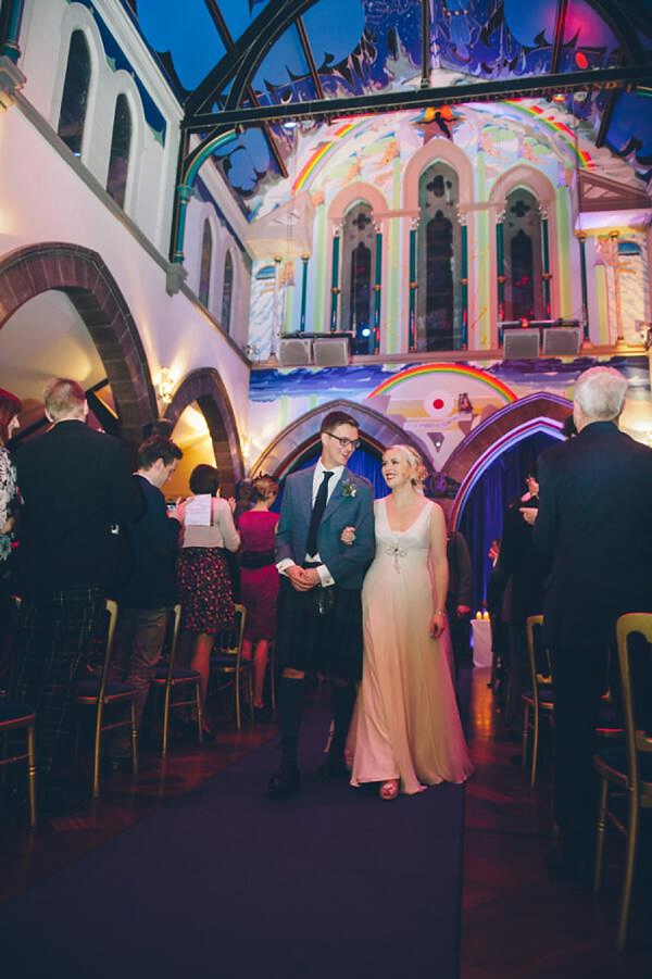 A Biba Blue Sequinned Jacket and Jenny Packham Crystal As Two Literature Graduates Tie The Knot (Weddings )