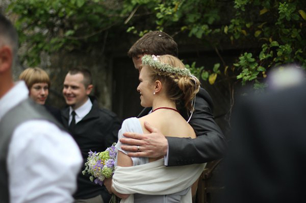 A Pale Blue and Pretty Belle & Bunty Wedding Dress And Flowers In Her Hair... (Weddings )