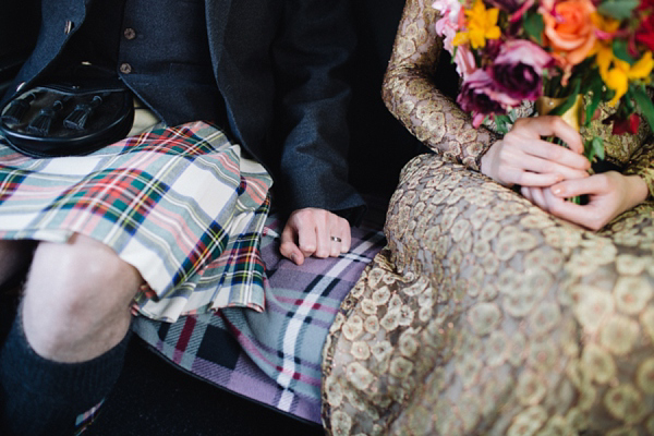Gold Issa wedding dress, Edinburgh wedding, Caro Weiss Photography