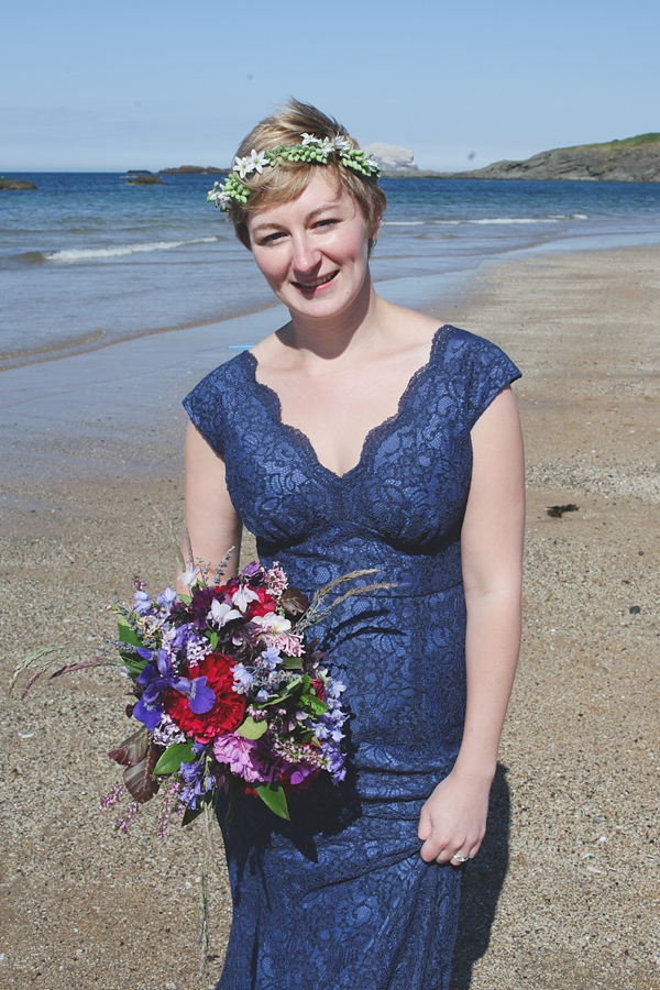 A Barefoot Bride And Her Blue Lace Wedding Dress For A Heart Warming Humanist Ceremony By The Sea (Weddings )