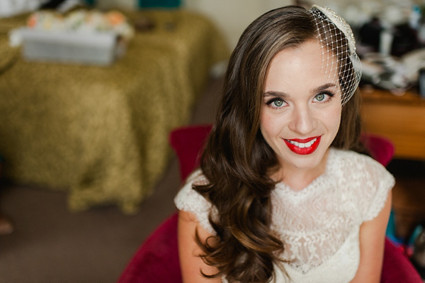 Suzanne Neville wedding dress, Miss Bush Bridal Wear, Bride in red lipstick, Bride with long loose hair - Images by Alexa Loy, find her at www.alexa-loy.com