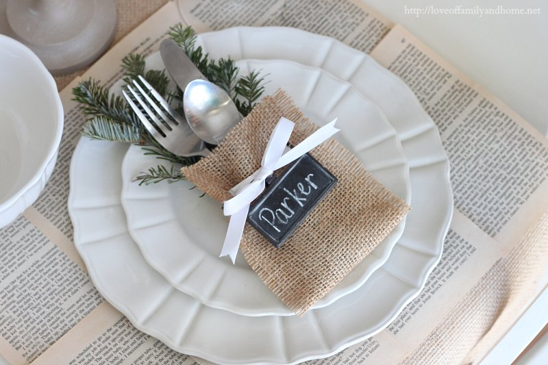 Christmas Place Settings Easy No Sew Flatware Pouch