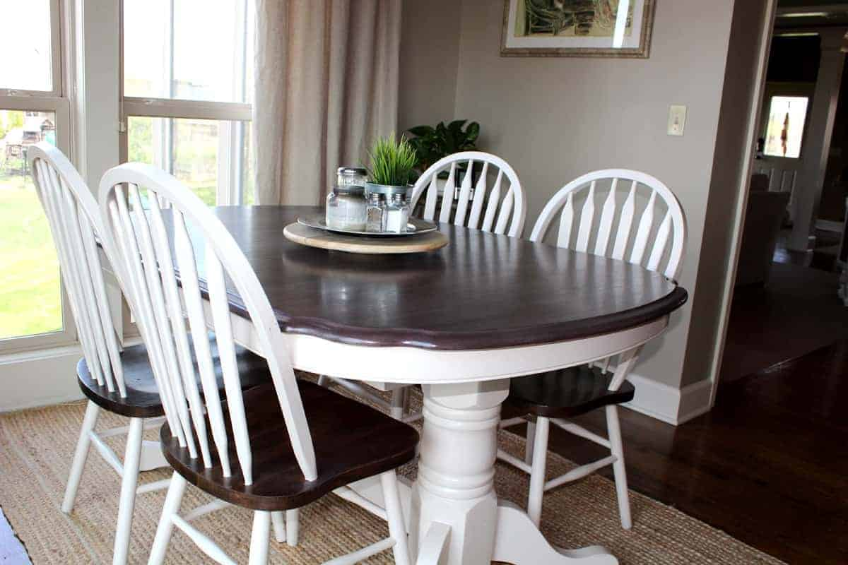 Table Kitchen Kitchen Table Transformation Using Chalk Paint And Wood Stain