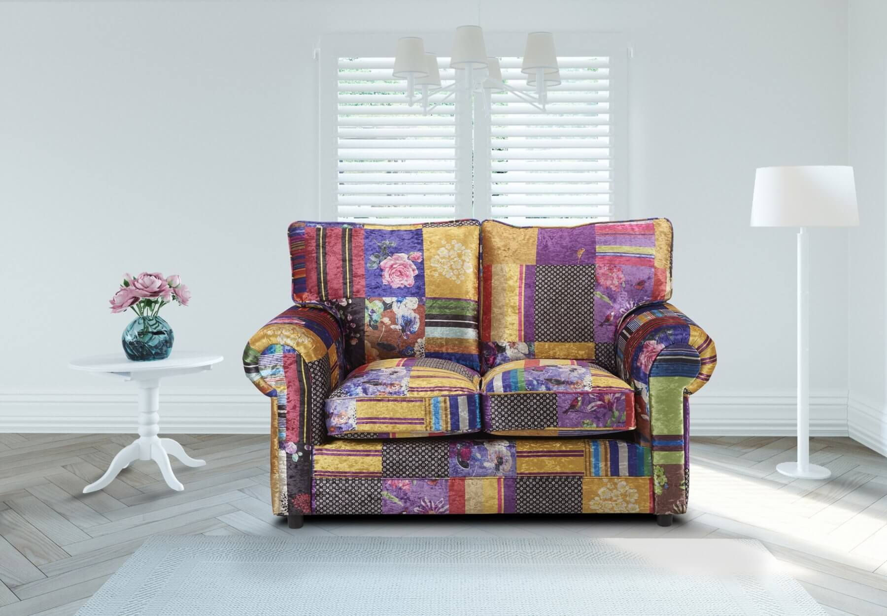 Patchwork Sofa Fabric Patchwork 2 Seater Charlotte Sofa With High Back