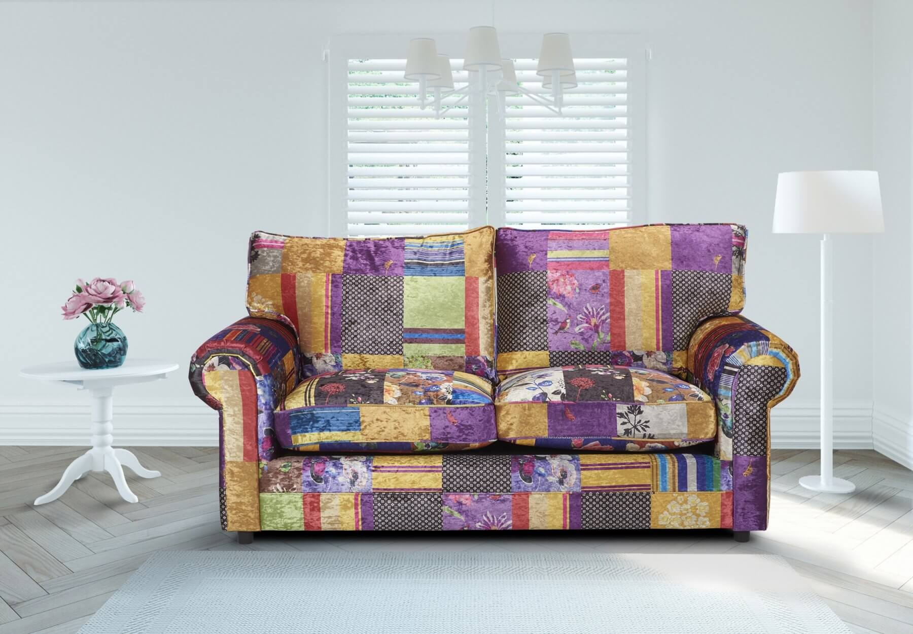 Patchwork Sofa Fabric Patchwork 3 Seater Charlotte Sofa With High Back