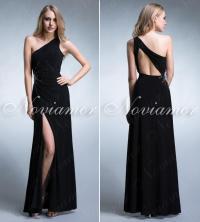 elegant-long-black-evening-dress-on-one-shoulder-2013 ...
