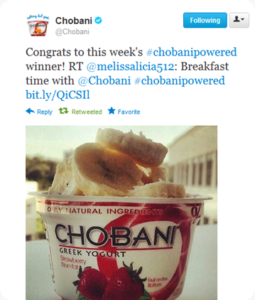 Chobani Powered Tweet