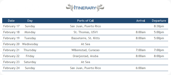 Royal Caribbean Running Cruise Itinerary