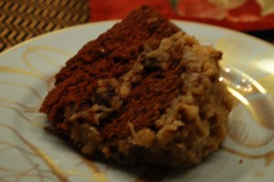 German chocolate cake on a holiday plate.