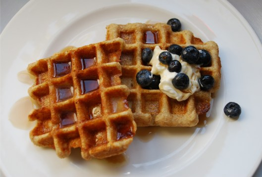 Waffles and blueberries on a white plate.