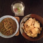 Roasted eggplant salsa with Parmesan pita chips with a straight-up martini.