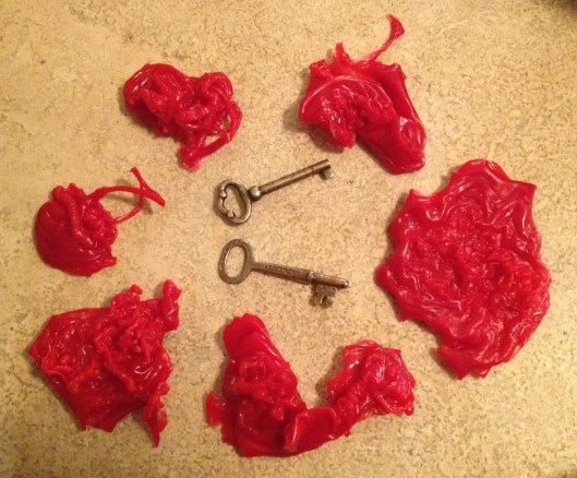 Wax shapes and keys for the feast of St. Andrew celebration.