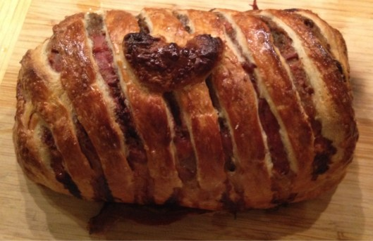 Beef Wellington made with LOVE with a heart.