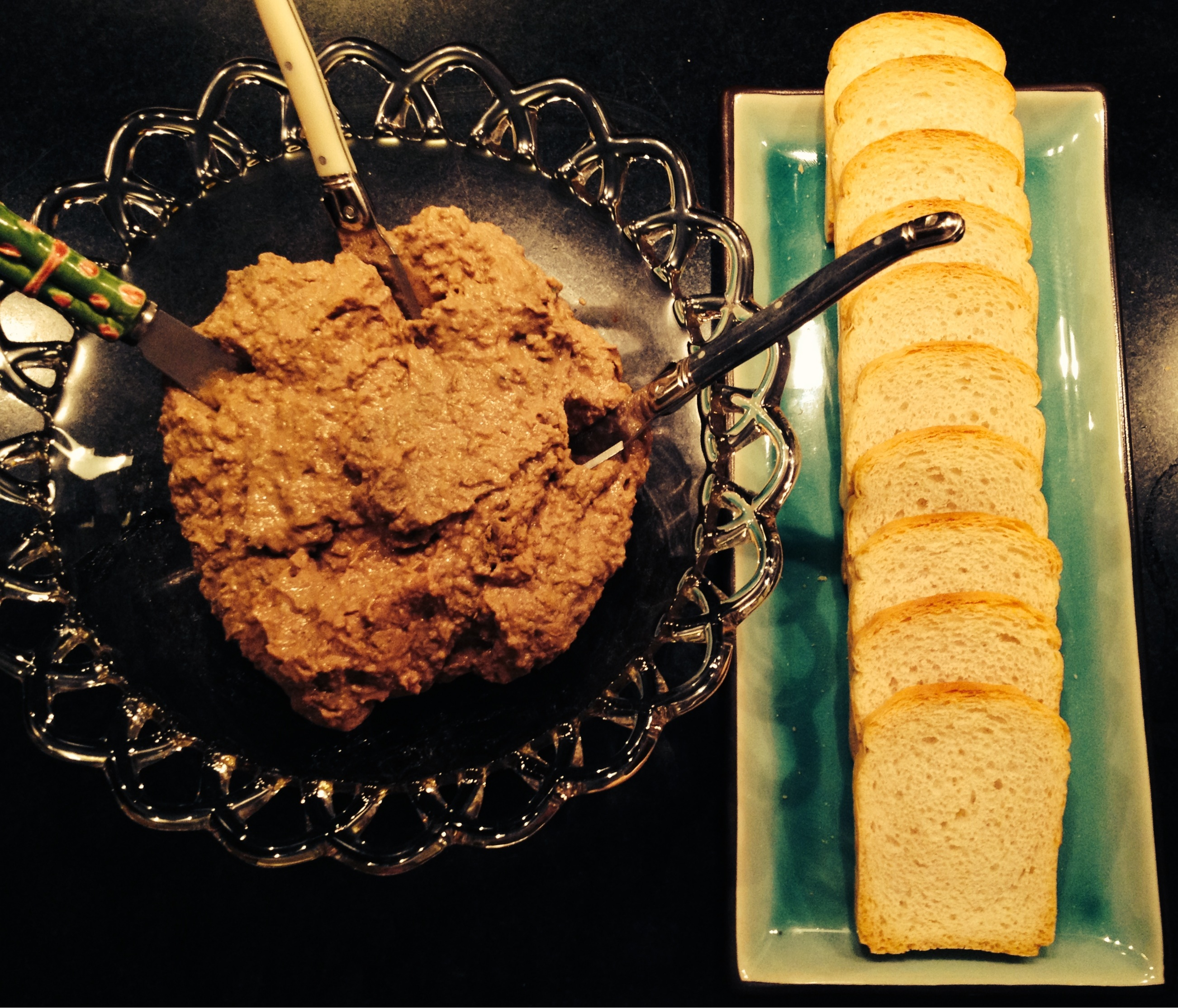 Chicken liver pate with toast.