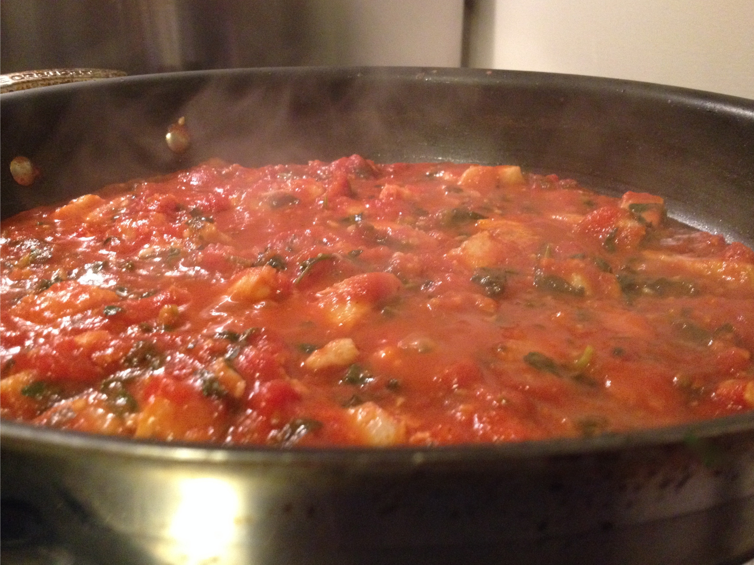 Red sauce with flounder