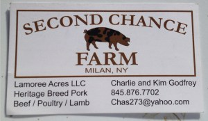 Second Chance Farm business card.