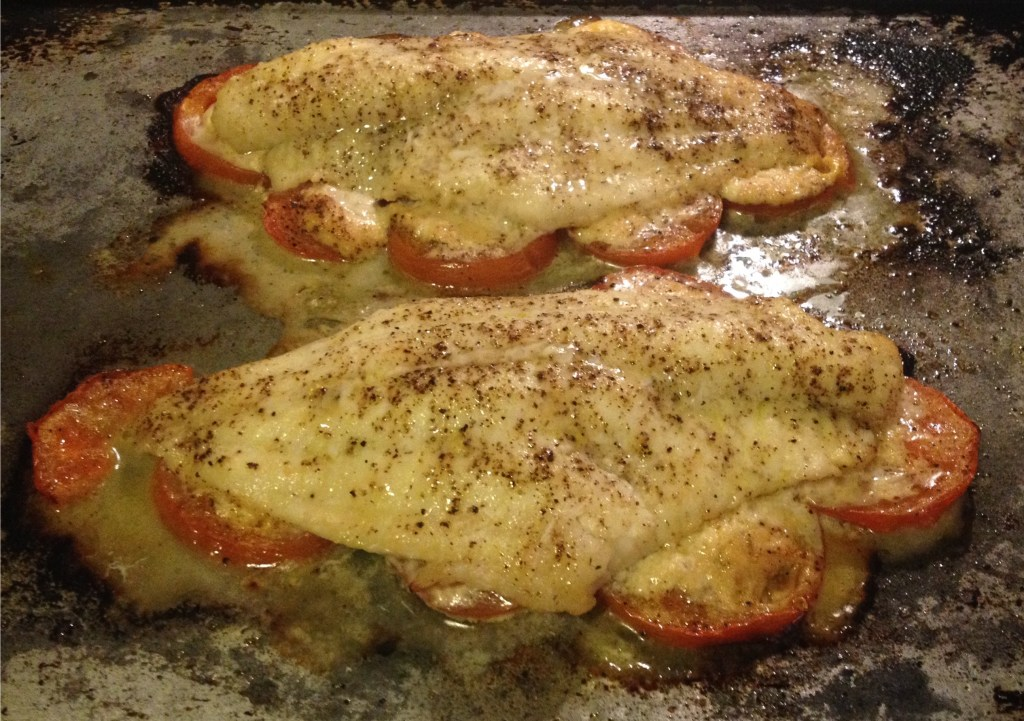Catfish with tomatoes and horseradish - done on a pan.