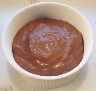 Chocolate souffle ready to bake.