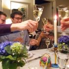 Toasting white wine at Easter dinner 2015.