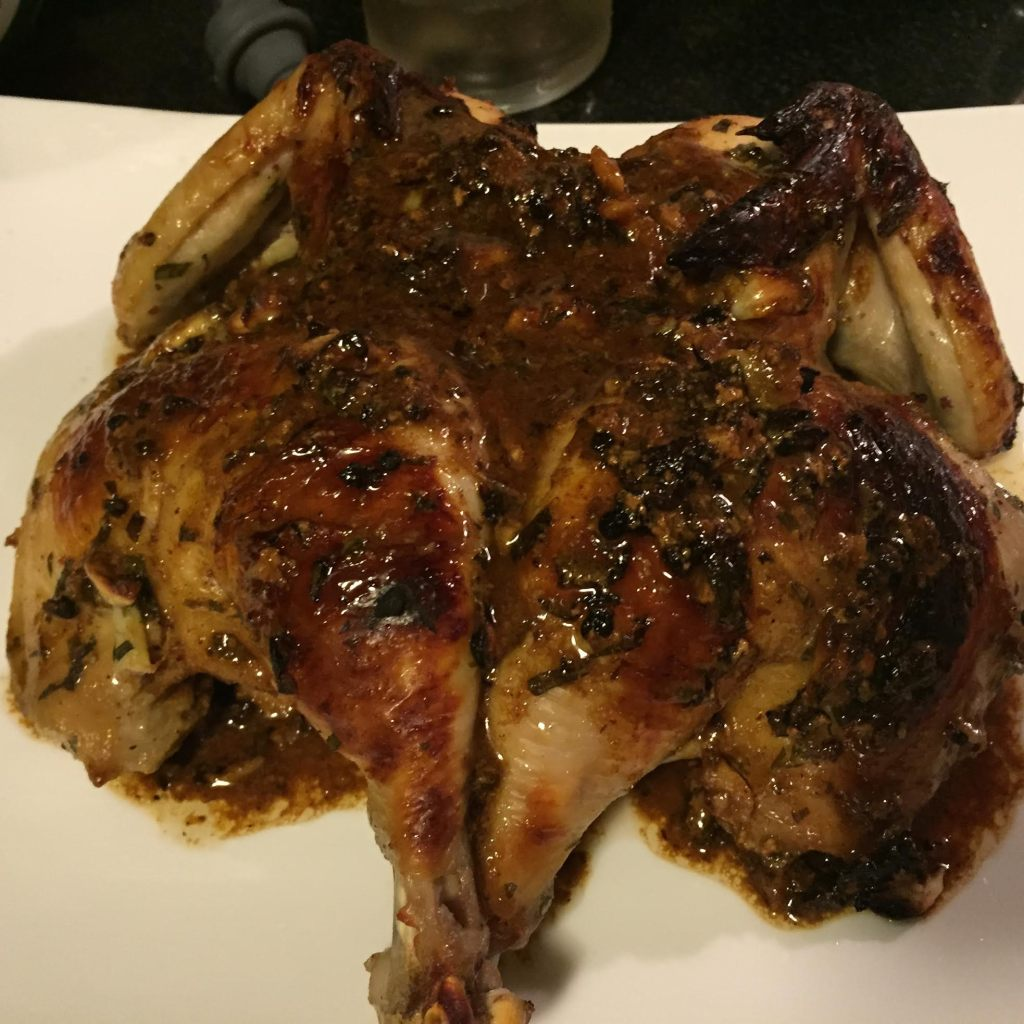 Buttermilk marinated roast chicken with tarragon and Dijon mustard with sauce.