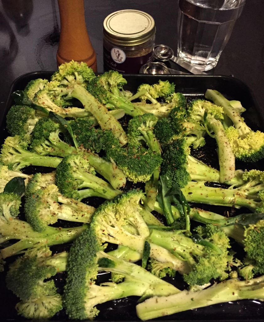 Tuscan sea salt on broccoli spears.