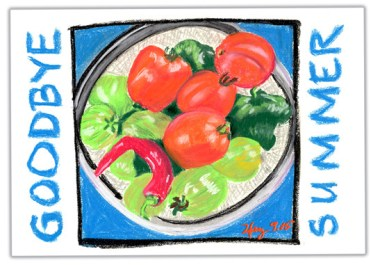 MARY's secret ingredients pastel drawing postcard.