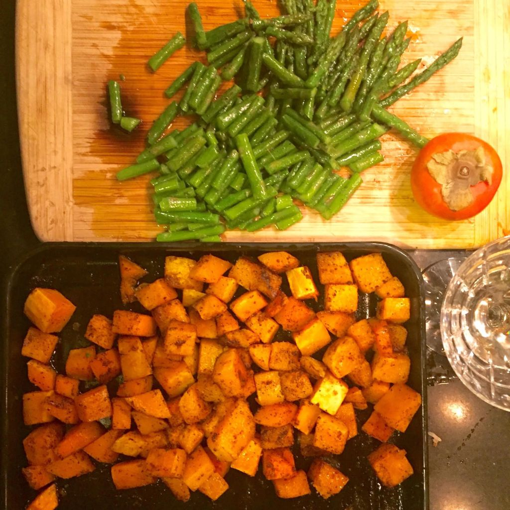 Leftover Turkey or Chicken with Butternut Squash, Asparagus and Persimmon - ingredients.