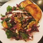 Roasted Squash and Radicchio Salad With Buttermilk Dressing & sweet corn arepas.