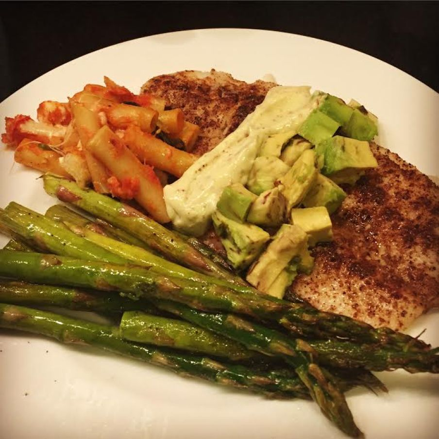 Fillet of flounder roasted with Garam Masala topped with avocado and homemade mayo with lemon roasted asparagus and baked ziti.
