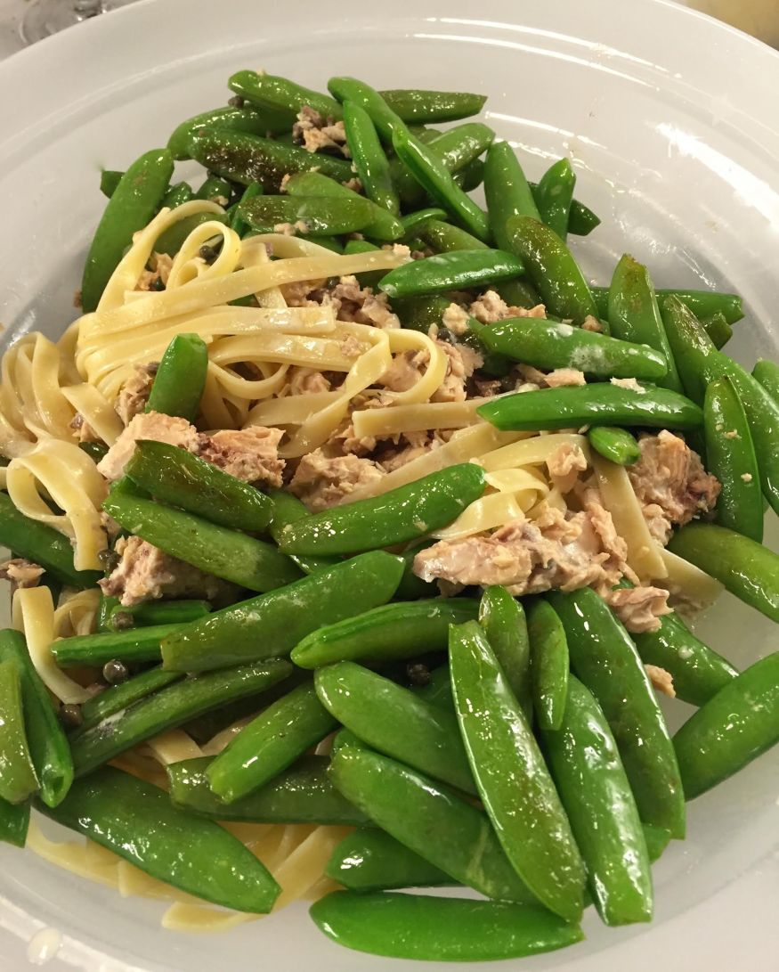 Fettuccine with salmon and sugar snap peas.