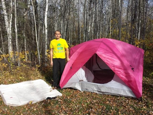 Наша новая розовая палатка